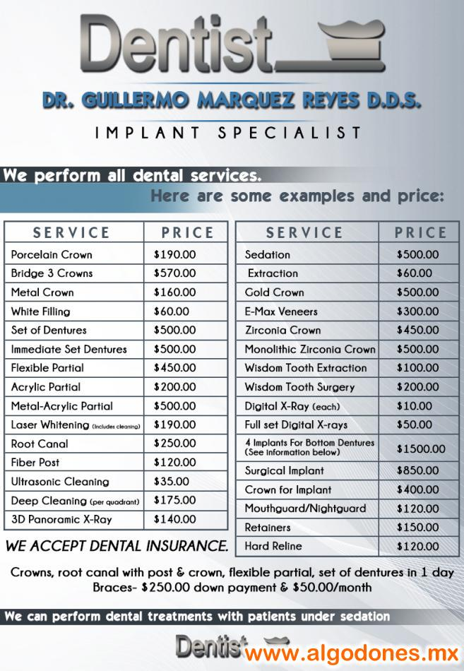 Price List Dr. Guillermo Marquez DDS