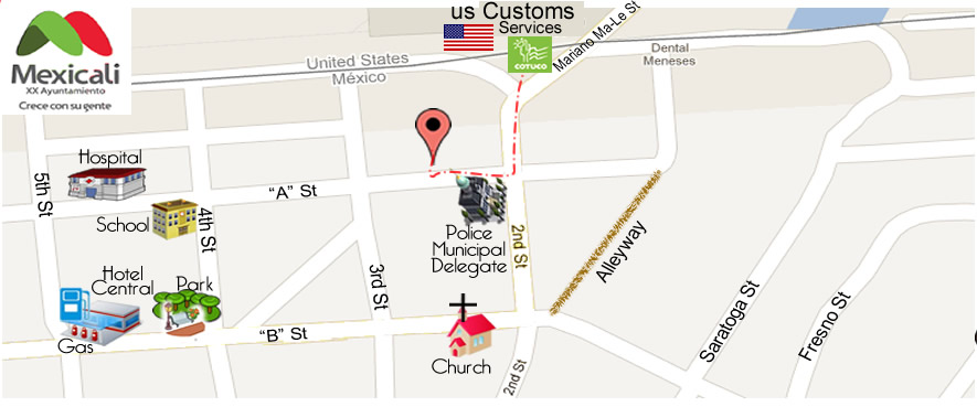 map Baja  Vision Care Optical in Algodones