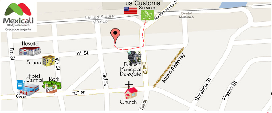 map Baja Dental Care in Algodones