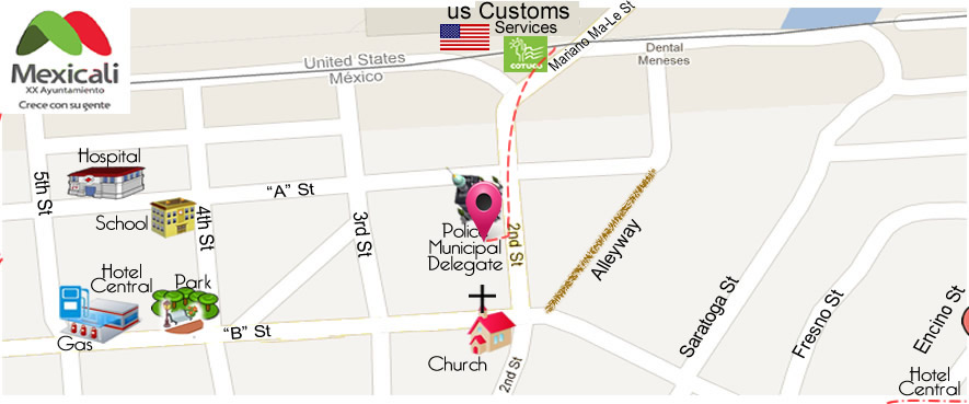 map O&A Vision Center in Algodones