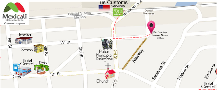 map DENTAL OFFICE IMPLANTS  Dr. Guadalupe Navarro Nogami DDS in Algodones