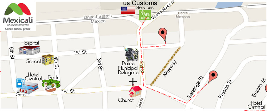 map Rubio Dental Group in Algodones