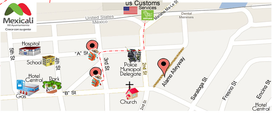 map Mariscos El Paisa in Algodones