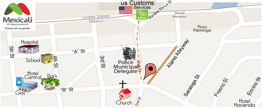 map CIRUJANO DENTISTA DR. ERNESTO CAMARENA  in Algodones