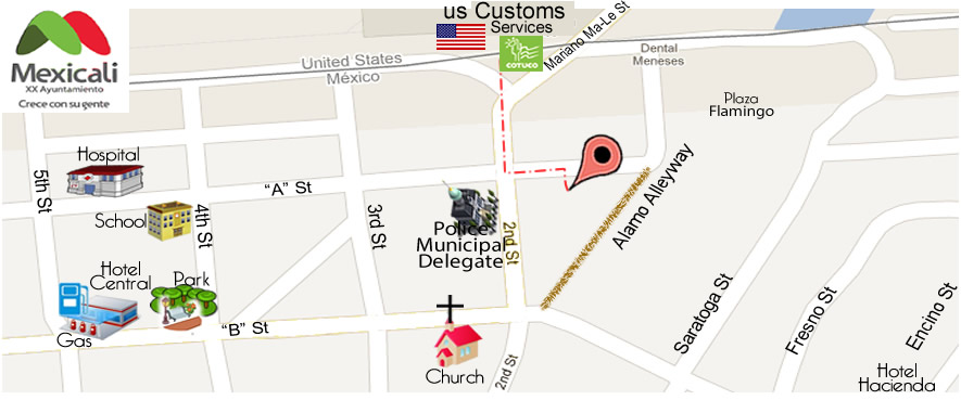 map Chip Dental  Office JOSE FAMANIA DDS  CARLOS GONZALEZ DDS in Algodones