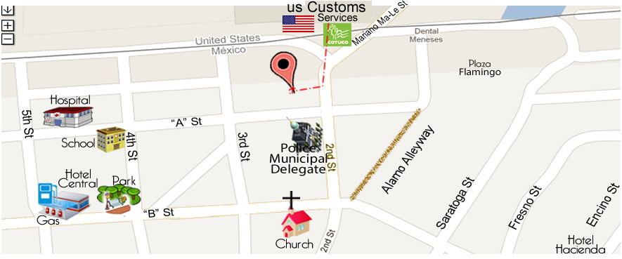 map Dentist DDS Dr. Guillermo Marquez Reyes in Algodones