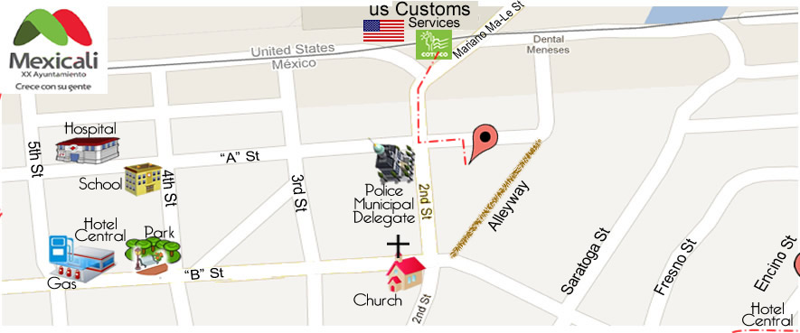 map Dental Office DR. LUIS MEDINA in Algodones