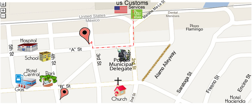 map MIGUEL E. OCHOA DDS DENTAL OFFICE in Algodones