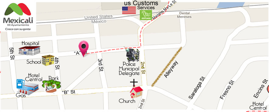 map No 8 Dental Care  Dra. Cynthia Rascon Amador DDS in Algodones