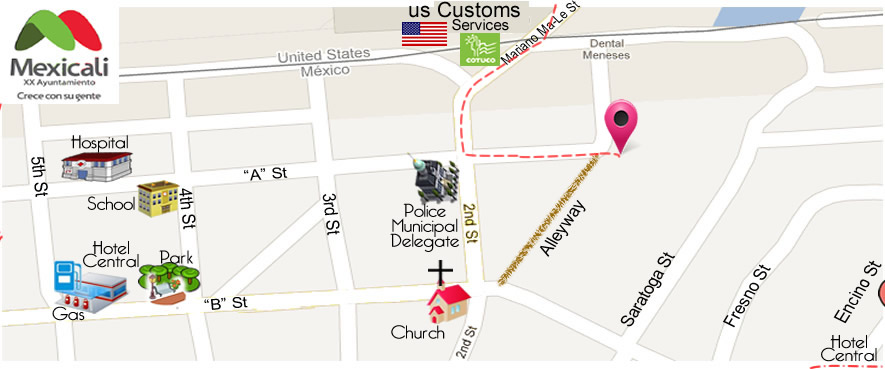 map Point Dental  in Algodones